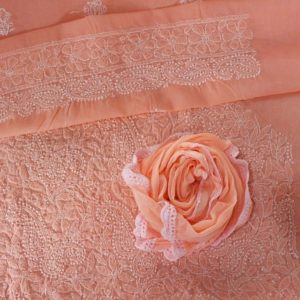 Lucknow Chikankari Sand Pink Cotton Dress Material 2