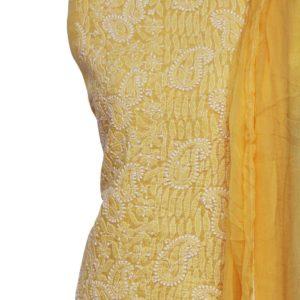 Lucknow Chikankari Yellow Cotton Dress Material Set 1