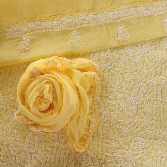 Lucknow Chikankari Yellow Cotton Dress Material Set 2