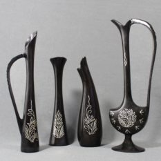 Bidriware Silver Inlay Flower Vase Set 1
