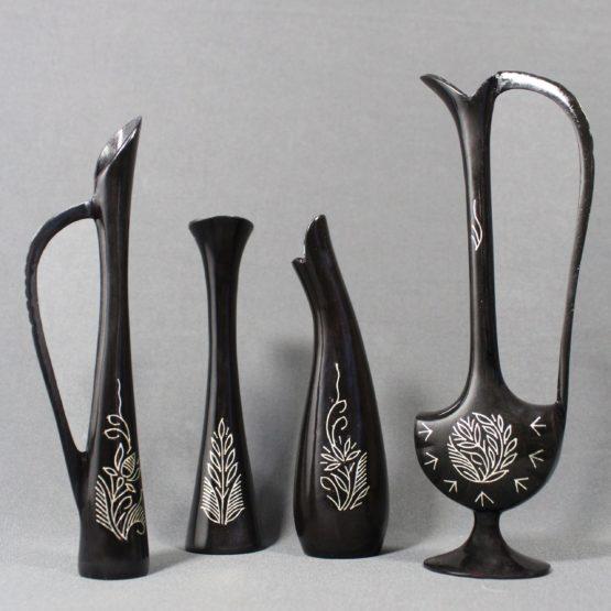 Bidriware Silver Inlay Flower Vase Set 1