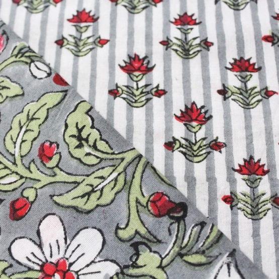 Farrukhabad Hand Block Print Cotton Dress Material Set 3C