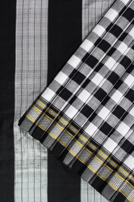 Ilkal Black & White Checks and Black Pallu Cotton-Silk Saree A1
