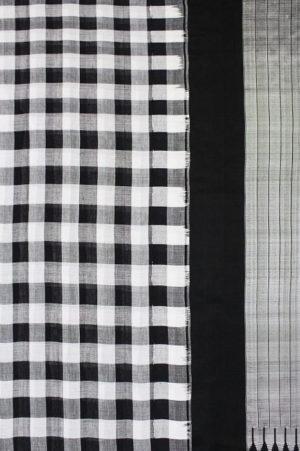 Ilkal Black & White Checks and Black Pallu Cotton-Silk Saree A2