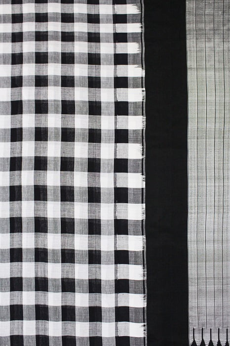 Ilkal Black & White Checks and Black Pallu Cotton-Silk Saree A2