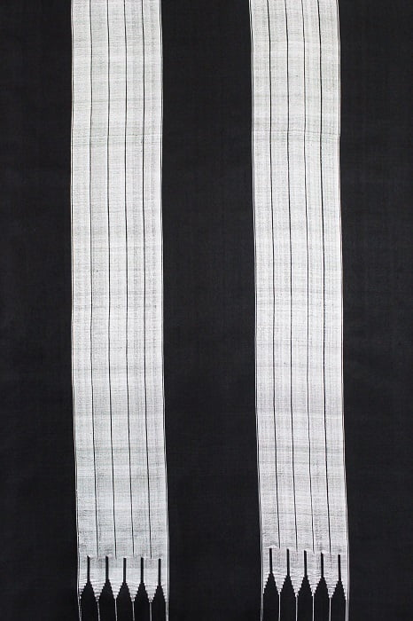 Ilkal Black & White Checks and Black Pallu Cotton-Silk Saree A3