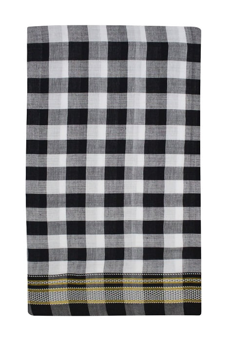Ilkal Black & White Checks and Black Pallu Cotton-Silk Saree A5