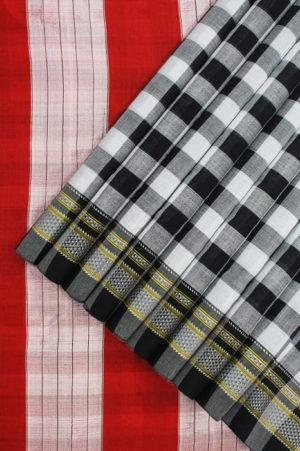 Ilkal Black and White Cotton-Silk Saree Online 1