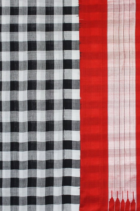 Ilkal Black and White Cotton-Silk Saree Online 2