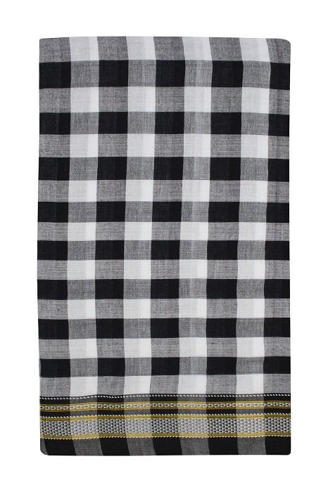 Ilkal Black and White Cotton-Silk Saree Online 5