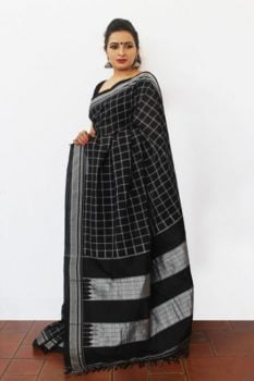 Ilkal Black and white small checks and Black pallu Cotton-Silk Saree 2