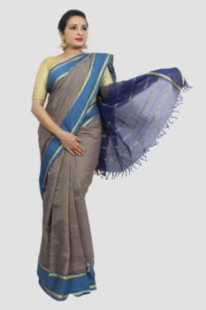 Udupi Blue With Golden Border Pure Cotton Saree 1