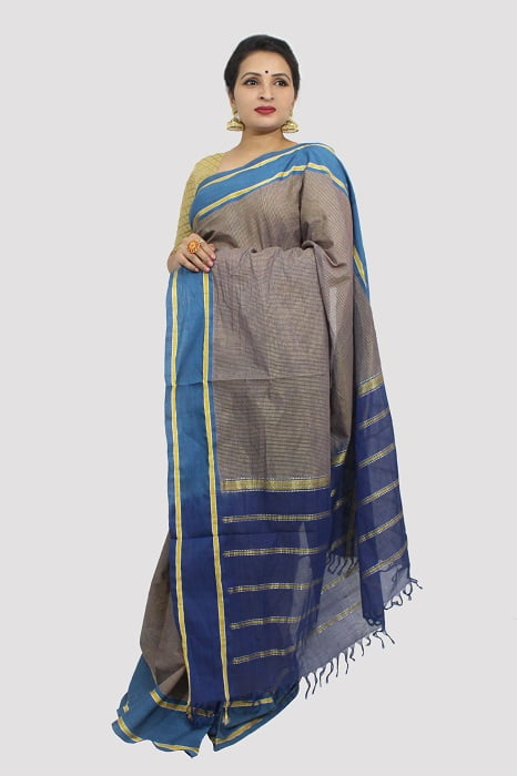 Udupi Blue With Golden Border Pure Cotton Saree 2