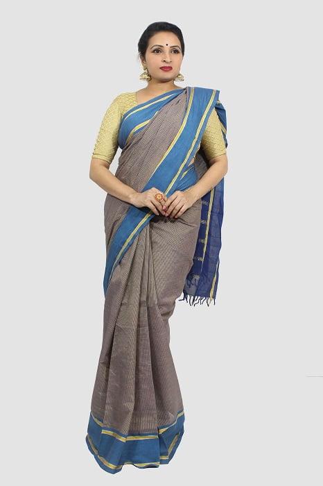 Udupi Blue With Golden Border Pure Cotton Saree 3