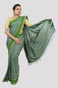 Udupi Dark Green With Checks Cotton Saree 1
