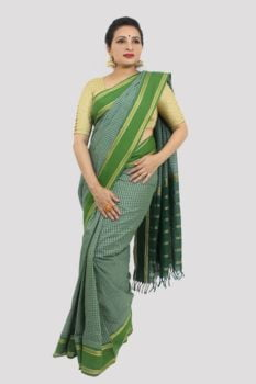 Udupi Dark Green With Checks Cotton Saree 3
