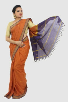 Udupi Hand Woven Orange Butta Pure Cotton Saree 1