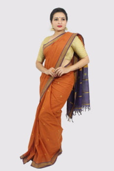 Udupi Hand Woven Orange Butta Pure Cotton Saree 3