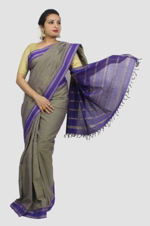 Udupi Hand Woven Purple Checks Pure Cotton Saree 1