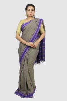 Udupi Hand Woven Purple Checks Pure Cotton Saree 3
