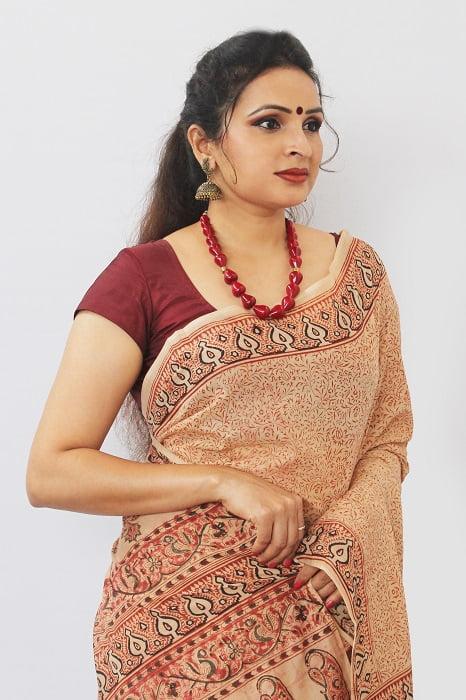 Hand Block Printed Machilipatnam Kalamkari Saree 25D