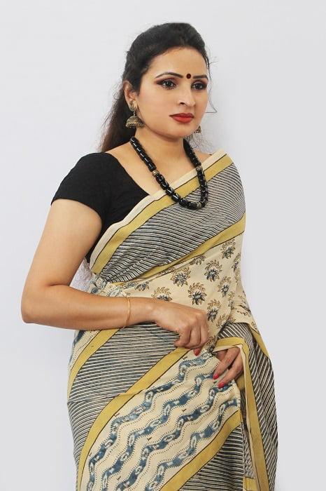 Hand Block Printed Machilipatnam Kalamkari Saree 27D