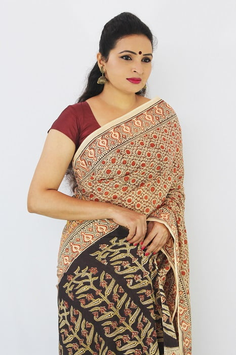 Hand Block Printed Machilipatnam Kalamkari Saree 31D