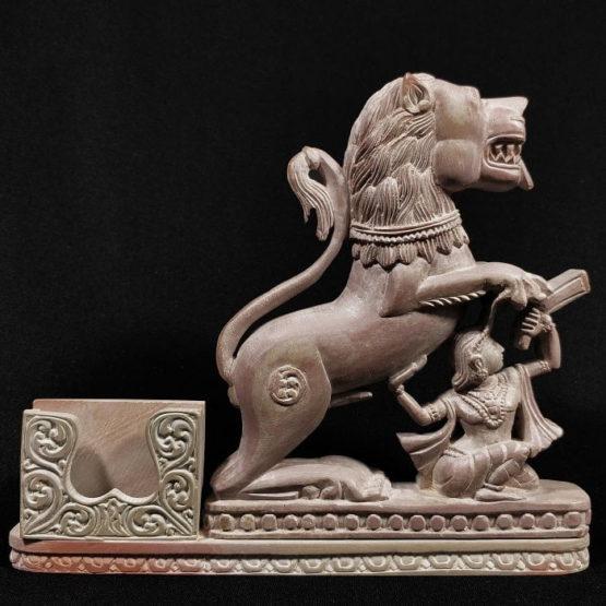 stone lion statue pen stand 1