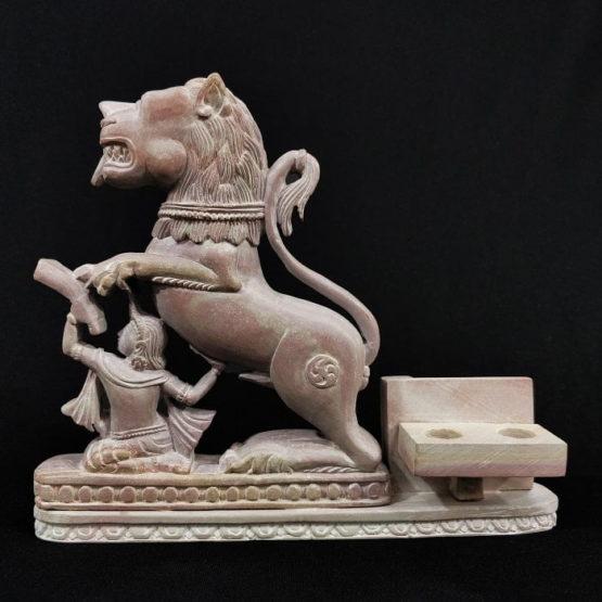 stone lion statue pen stand 2