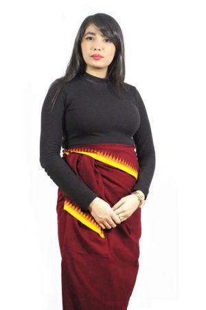 moirang phee maroon long skirt 1