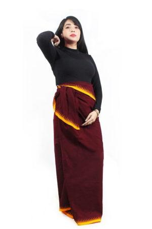 moirang phee maroon long skirt 2