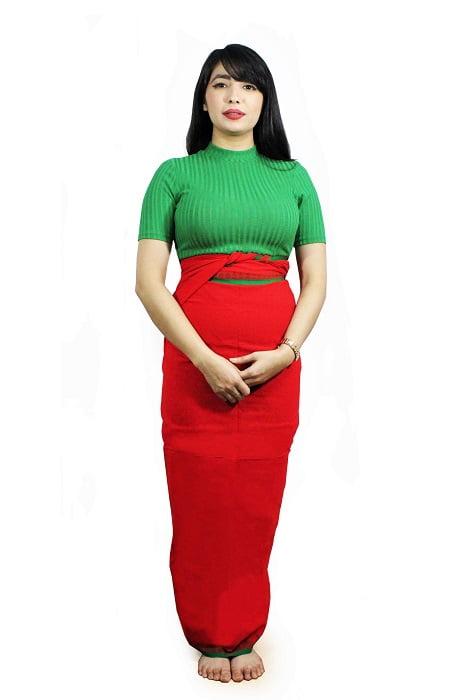 moirang phee red long skirt 2