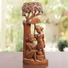 Bastar Wooden Trible life under Umbrella Artwork 1