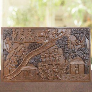 Bastar Village Wooden Artwork 1