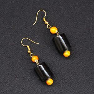 Etikoppaka Black and Orange Bead Necklace (2)