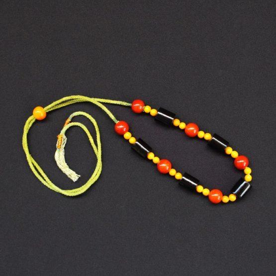 Etikoppaka Black and Orange Bead Necklace (4)