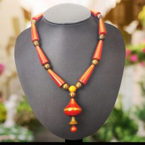 Orange cone bead necklace 1
