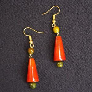 Orange cone bead necklace 2