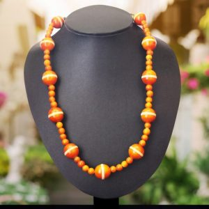 Orange round bead necklace - GiTAGGED 1