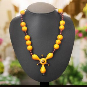yellow round bead necklace 1