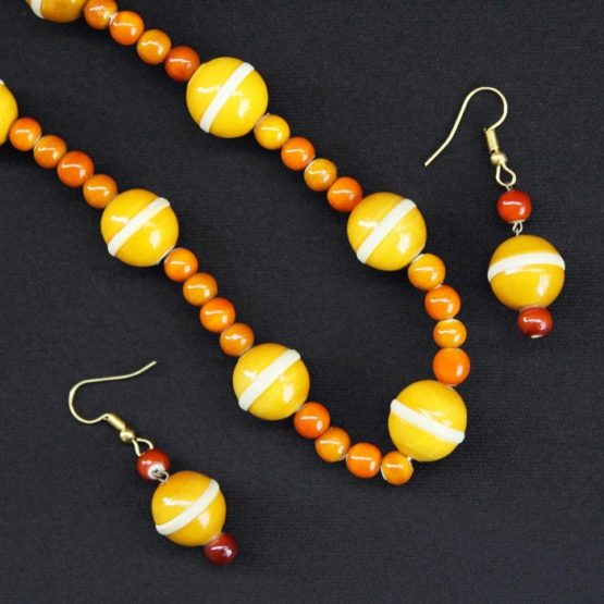yellow round bead necklace - GI TAGGED 3