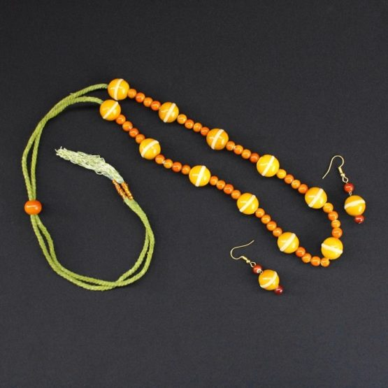 yellow round bead necklace - GI TAGGED 4