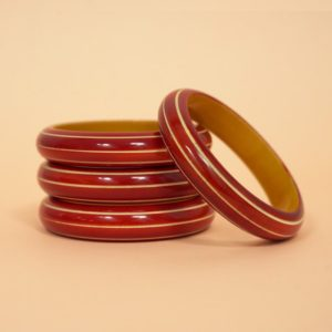 Channapatna Red Grooved Bangle (2)