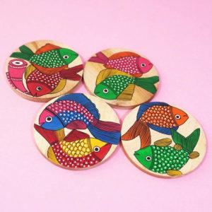Bengal Pattachitra Wooden Coaster