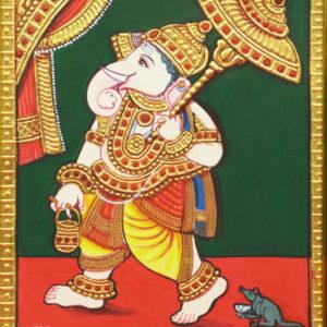 Umbrella Ganesha Mysore Painting