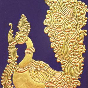 Golden Peacock Mysore Painting