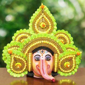 Feather Design Ganapathi Chhau Mask Green
