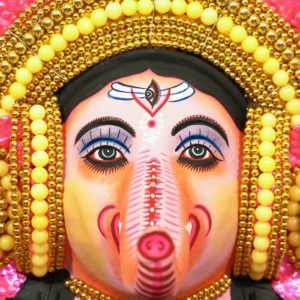 Feather Design Ganapathi Chau Mask Pink