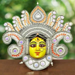 Flame Design Devi Chau Mask - Silver