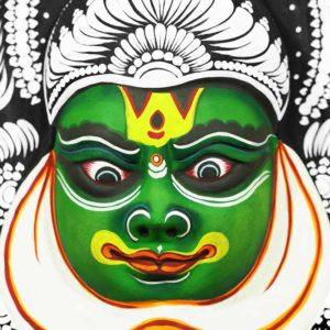Kathakali Face Chau Mask Black Green